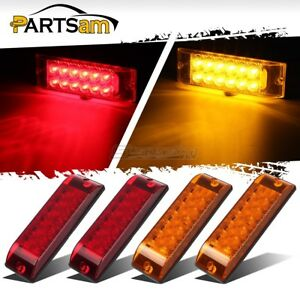 4xred amber 8 x2 5 2 Function 12 Led Stop Turn Tail Lights Surface Mount Sealed