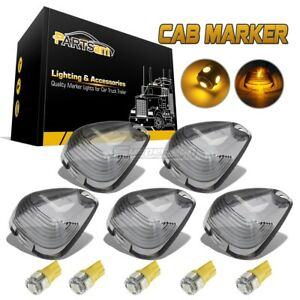5xsmoke Cab Marker Clearance Light Lens Amber T10 5050 Led For Ford F 250 F 450