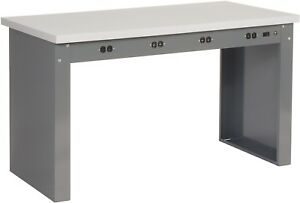 72 w X 30 d Panel Leg Workbench With Power Apron And Esd Square Edge Top