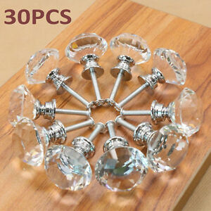 30x Clear Crystal Glass Diamond Knob Drawer Cupboard Cabinet Pull Handle 30mm Ak