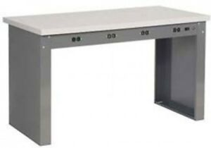 96 w X 30 d Panel Leg Workbench With Power Apron And Shop Top Square Edge Top