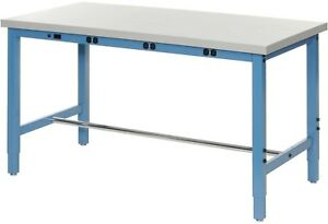 96 w X 30 d Production Workbench With Power Apron Plastic Laminate Square
