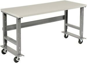 72 w X 30 d Mobile Workbench Esd Square Edge Gray
