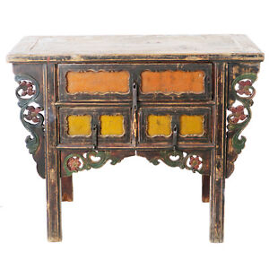 Antique Chinese Asian 43 Wide 3 Drawer Table Coffer Cabinet Vanity