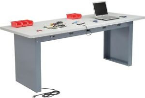 96 w X 36 d Panel Leg Workbench With Power Apron And Plastic Laminate Square