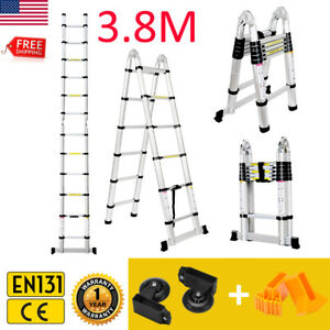 12 5ft Aluminum Multi purpose Telescopic Ladder Extension Foldable En131 hinges