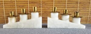 Tommi Parzinger Pair Candlesticks Brass Metal Marble