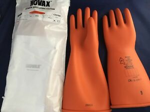 Novax Rubber Insulating Gloves 14 Size 9 Class 1 Rolled Orange
