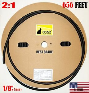 656 Ft 656 Feet Black 1 8 Inch 3 Mm Polyolefin 2 1 Heat Shrink Tubing