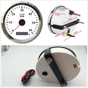 Waterproof Tachometer Car Motorcycle Tacho Gauge White With Hour Meter 0 6000rpm