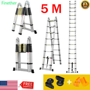 16 4ft Aluminum Multi purpose Telescopic Ladder Extension Foldable En131 hinges