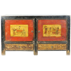 Antique Mongolian Chinese Rustic 2 Door Painted Sideboard Cabinet 53 Long