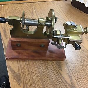 Antique Bench Model Hand Operated Jewelers Watchmakers Brass Steel Lathe