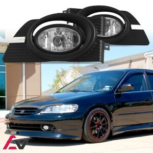 01 02 For Honda Accord Clear Lens Pair Bumper Fog Light Lamp wiring switch Kit