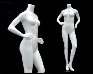 Female Headless Glossy White Mannequin High End Style With Metal Base