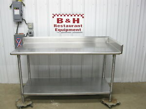 66 X 30 Stainless Steel Kitchen Work Table W Back Right Side Splash 5 6