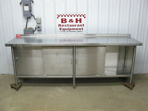 96 X 26 Stainless Steel Heavy Duty Kitchen 3 Door Cabinet Work Prep Table 8