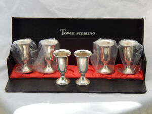 Towle Sterling Silver 58 Weighted Cordial Cup Goblet Shot Glass Box Set Of 6