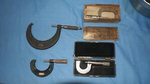 Lot 4 Vintage Micrometer Starrett 217 Browne Sharpe No8 Jt Slocomb Central Tool