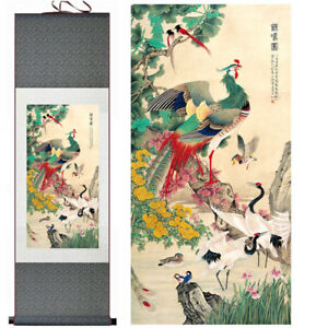 Home Decor Chinese Silk Scroll Painting Flowers And Birds Ink Painting