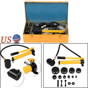15 Ton Case Hydraulic Metal Steel Plate Hole Punch Set Hand Pump Dies Tool Kit