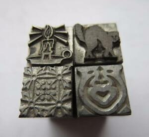 Printers Lead Type Letterpress Printing Mixed Lot (4) Cat Lamp Steampunk Images