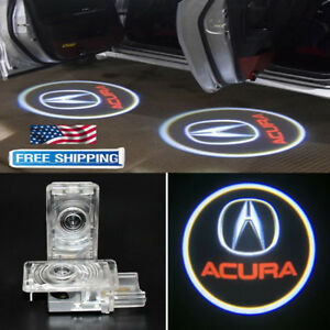 2 For Acura Zdx Mdx Tl Led Car Door Logo Laser Shadow Welcome Projector Lights