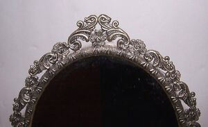 Vintage Victorian Antique Brass Oval Standing Vanity Glass Mirror Stand 14