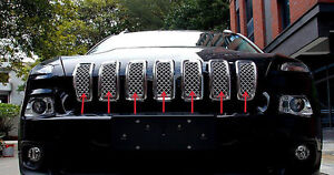 Chromed Front Grille Inserts Mesh Grill Accessories For Jeep Cherokee 2014 2018
