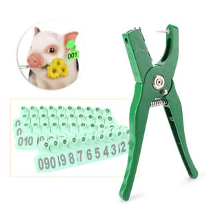 100pcs Applicator Puncher Tagger 1 ear Tag Pig Plier Sheep Goat Hog Cattle Cow