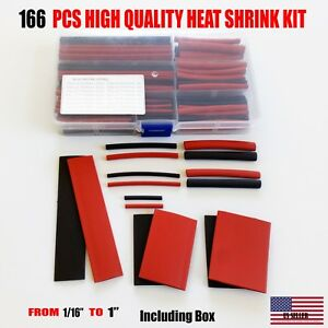 166 Pcs Cable Heat Shrink Tubing Sleeve Wire Wrap 2 1 Assortment Kit Box Set