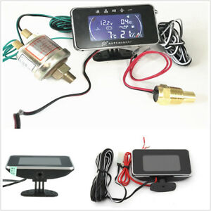 Universal Car Lcd 4 In 1 Water Temperature Oil Pressure Fuel Voltage Gauges Kit
