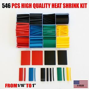 546 Pcs 2 1 Heat Shrink Tube Tubing Sleeve Wrap Wire Assorted Kit Made In Usa