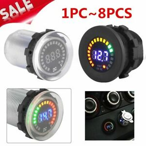 Lot Waterproof 12v Car Boat Marine Led Voltmeter Voltage Meter Battery Gauge Ma
