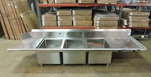 Eagle Commercial Stainless Steel 3 compartment Dishwasher Sink W 2 Drainboards