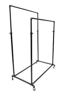 Black Double Rail Clothing Rack On Wheels W Casters Adjustable Height Rack