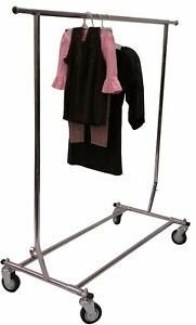 Collapsible Single Rail Chrome Clothing Rack On Wheels With 4 Casters