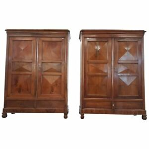 19th Century Italian Charles X Walnut Pair Of Armoires Wardrobes