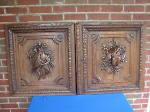 Pair Antique French Carved Oak Doors With Grouse Fish Trophy Decoration