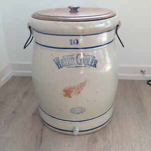 Red Wing Union Stoneware 10 Gallon Ice Water Cooler Cobalt Advertising Crock