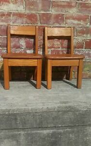 2 Vintage Solid Oak Childs Primary School Classroom Library Chair 10 Seat