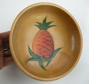6 Mid Century Pineapple Salad Bowls Hand Carved Painted Wood Mt Fuji Japan 1950s