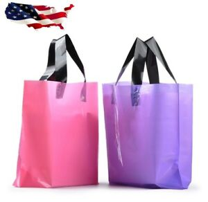 New 100 Plastic Gift Bags Frosted Pink And Purple Large Merchandise Bags Retail