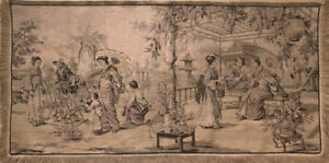 Vintage French Tapastry With A Japanese Court Scene