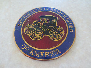 Vintage Horseless Carriage Club Of America Brass Car Badge