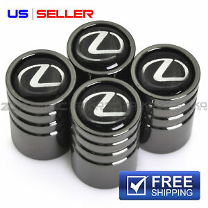 Valve Stem Caps Wheel Tire Black Chrome For Lexus Us Seller Ve17