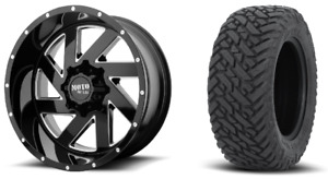 22x10 Moto Metal Mo988 Black Wheel And Tire Package 33 Fuel Mt 6x135 Ford F150