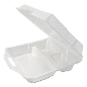 Genpak Foam Hinged Container Small 3 compartment 8x7 1 2x2 4 5 White 100 b