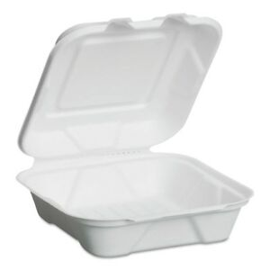 Genpak Harvest Fiber Hinged Containers White 8 X 7 8 X 2 5 50 bag