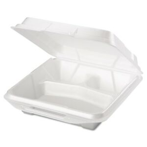 Foam Food Containers 3 comp 9 1 4 X 9 1 4 X 3 White 100 bag 2 Bags carton